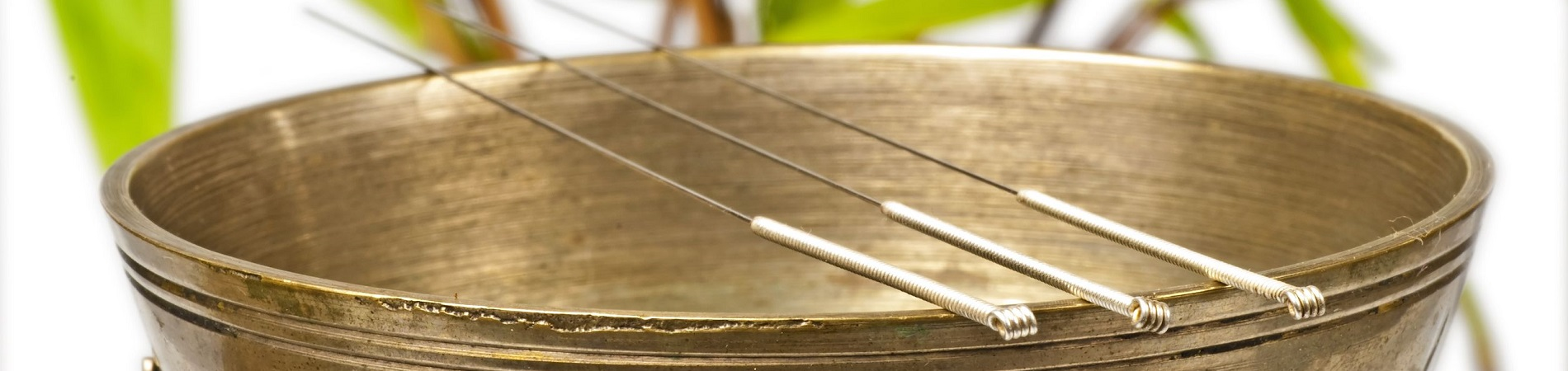 Acupuncture needles resting on a brass bowl - Acupunture services from Worcester Acupuncture