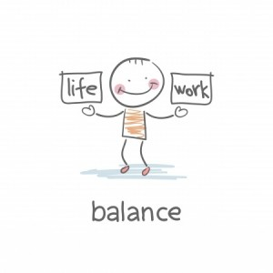 New Year - New You Cartoon with man balancing life and work