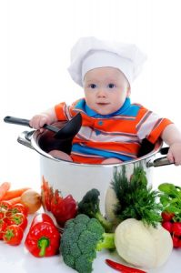Baby in a pan - illustrating a good diet